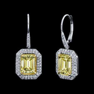 Yellow Diamond Dangling Earrings
