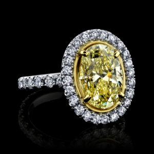 GIA Certified Oval Yellow Diamond Ring