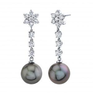 Tahitian Cultured Pearl and Diamond Earrings