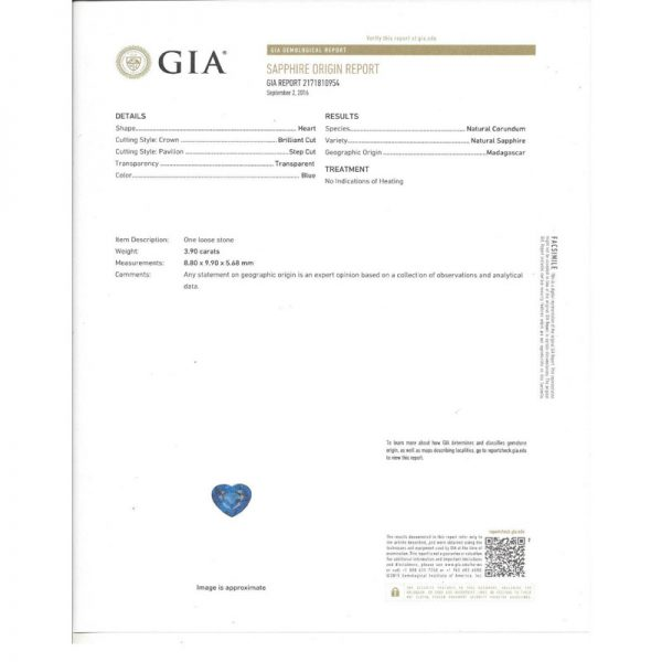 UNHEATED Blue Sapphire Heart (GIA) Ring