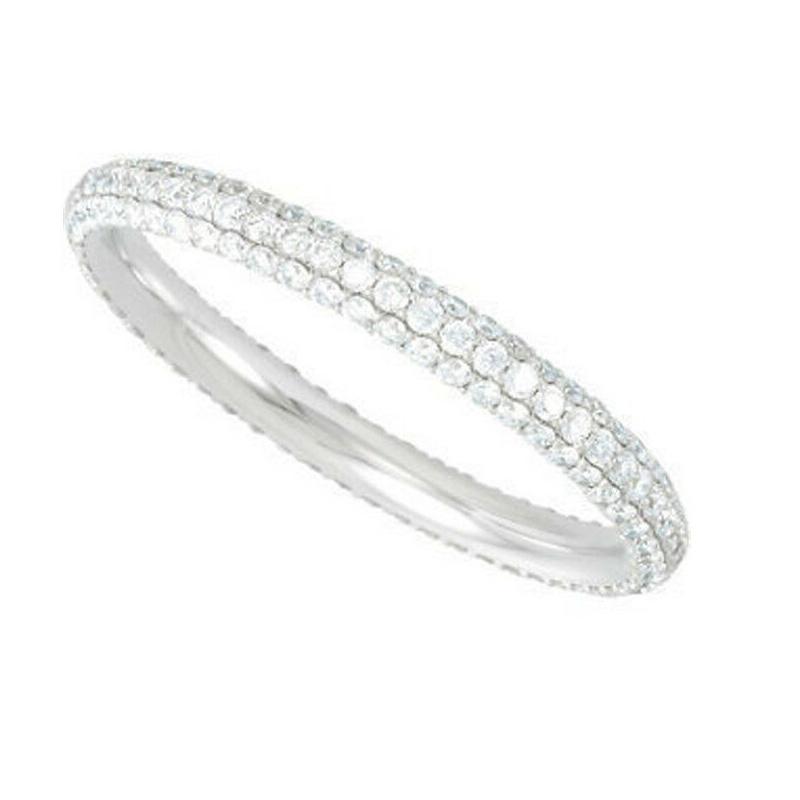 DIAMOND BRIDAL ETERNITY BAND 14K WHITE GOLD RING