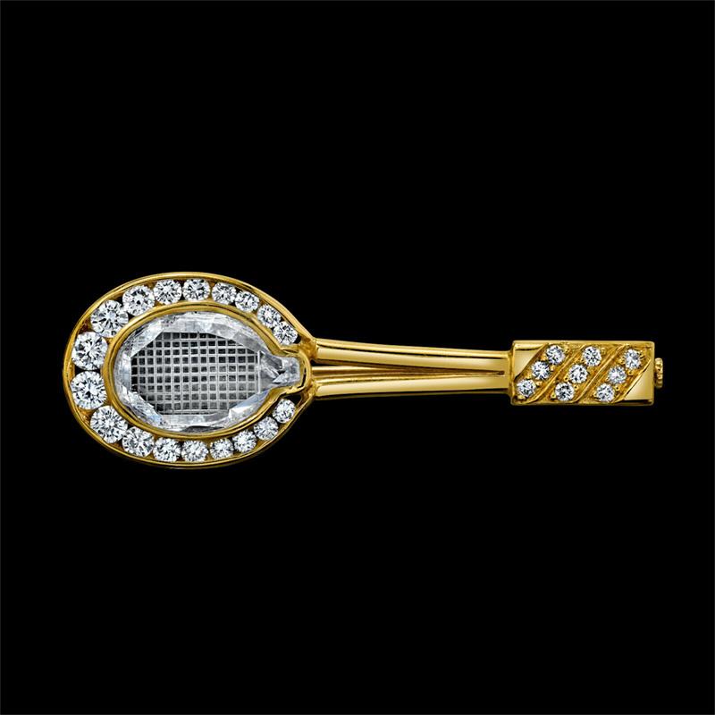 Tennis Racket PIN Yellow Brooch