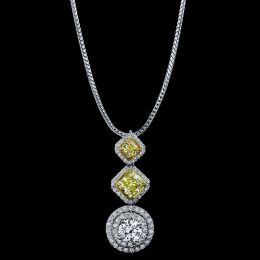 DIAMOND NECKLACE NATURAL FANCY INTENSE YELLOW RADIANT