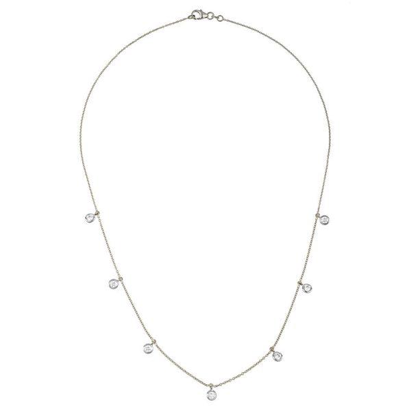 DIAMOND NECKLACE 18″ LONG 18K WHITE GOLD