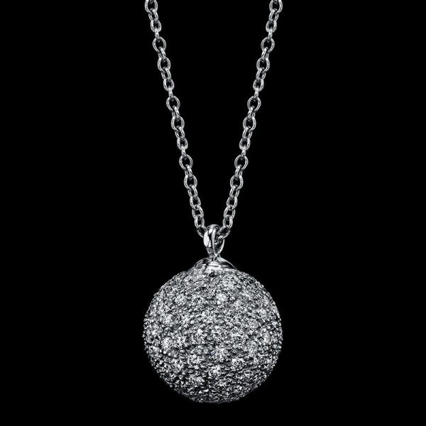 DIAMOND PAVE BALL PENDANT IN SET PLATINUM