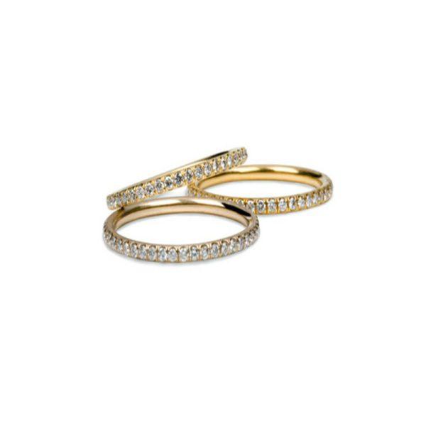 Diamond Pave Wedding Band 18KYG