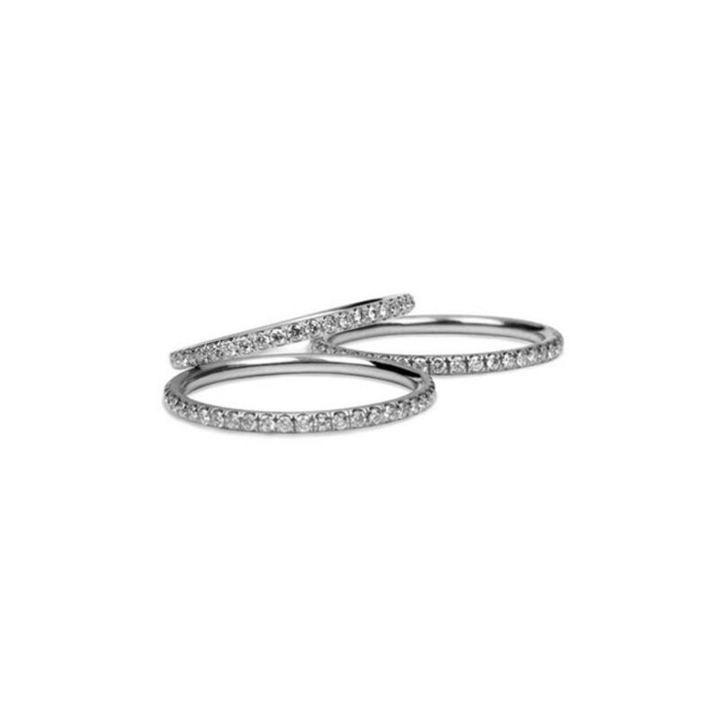 Diamond Pave Wedding Band Platinum