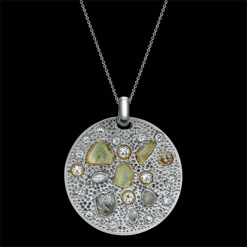 DIAMOND PENDANT WITH ROUGH AND POLISHED