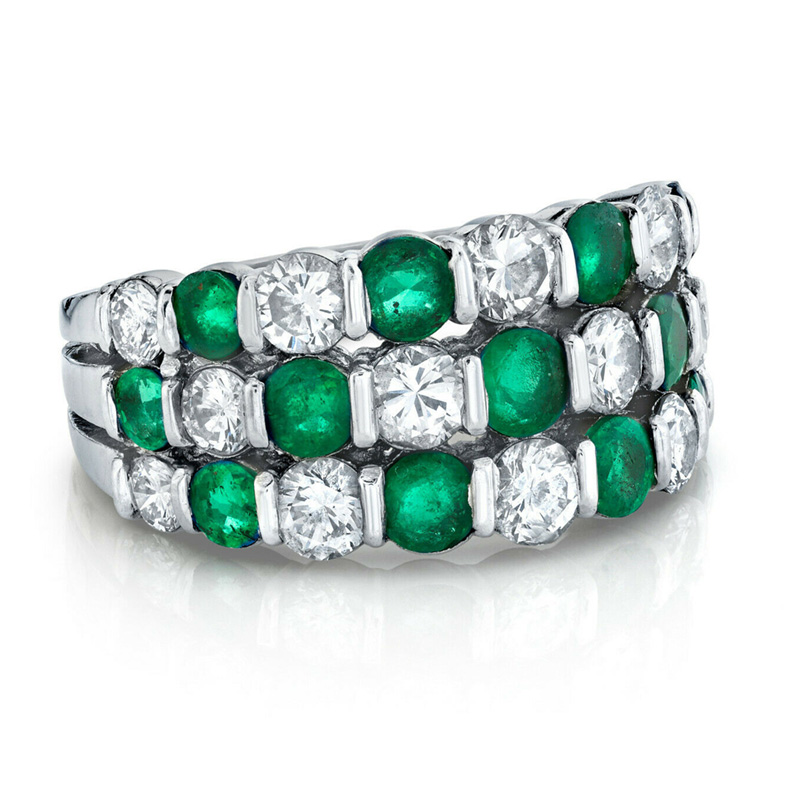 Diamond and Emerald Ring total of 1.90 carats. Set in Platinum. Bargain priced