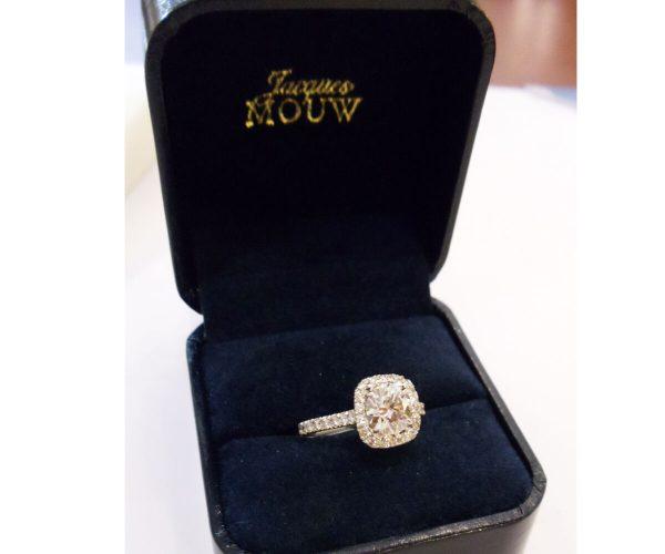 Platinum Diamond Engagement Ring 1.70 Carats