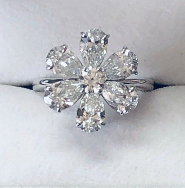 Diamond Pear Shape and Round Flower Ring 3.50 TCW