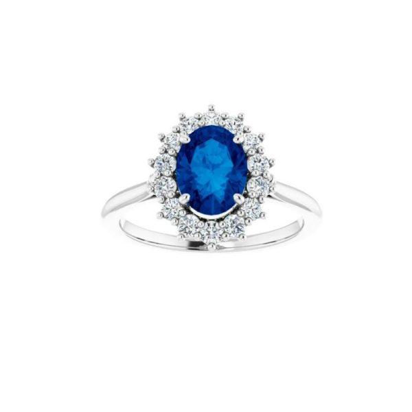 Genuine Blue Sapphire and Diamond Rings 14k White Gold