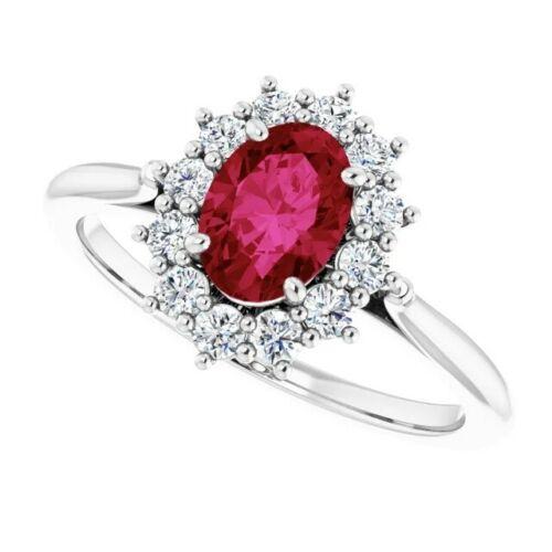 Genuine Ruby and Diamond Rings 14K White Gold