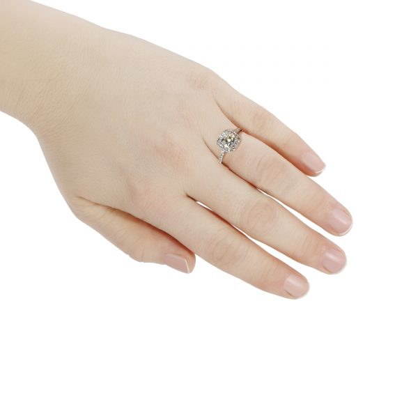 Diamond Cushion Cut 2.02 Carats Engagement Ring Platinum