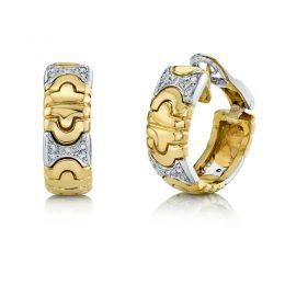 Italian Huggie Hinged Hoop Earrings with Diamond 18K Yellow Gold