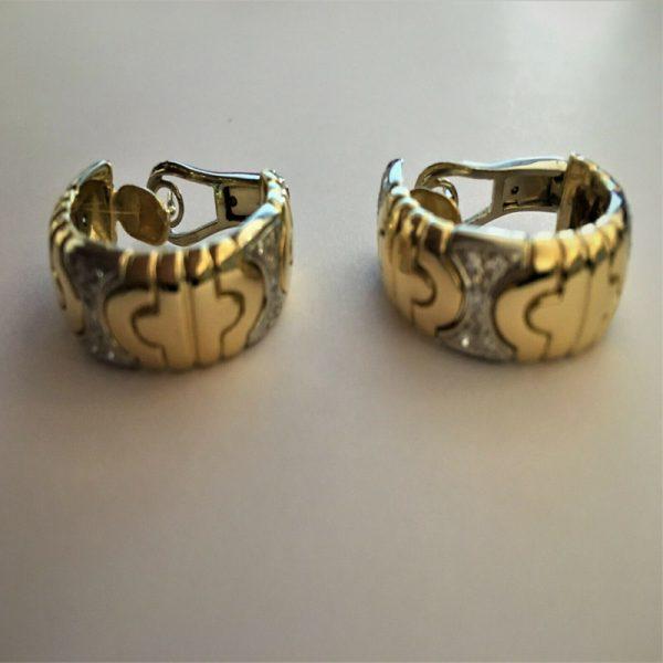 Pre-owned Hoop Earrings Diamond 18K Yellow/White Gold.