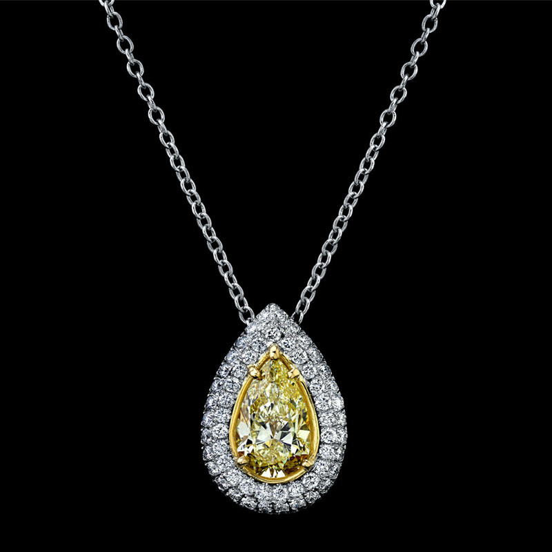PEAR SHAPED YELLOW DIAMOND PENDANT in excellent cut