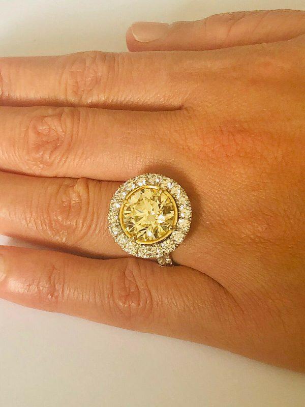 Round Yellow Diamond Ring 8.02 carats.