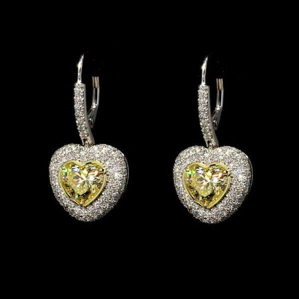 Yellow Diamond Heart Shape Dangling Earrings 5.01 carats Platinum