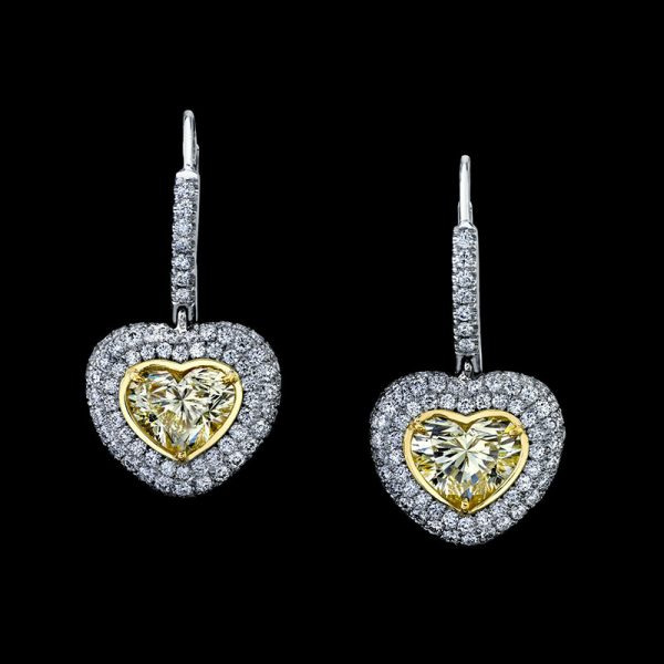 YELLOW DIAMOND HEART SHAPE DANGLING EARRINGS