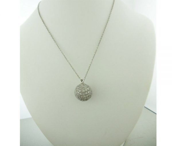 Diamond Pave Ball Pendant 3.60 carats