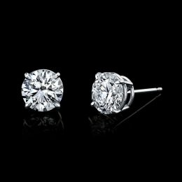Diamond Stud Earrings 2.03 Carats with GIA Certificates 18KWG 4-Prong