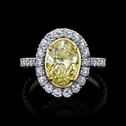 Oval Yellow Diamond Ring 2.52 carats GIA