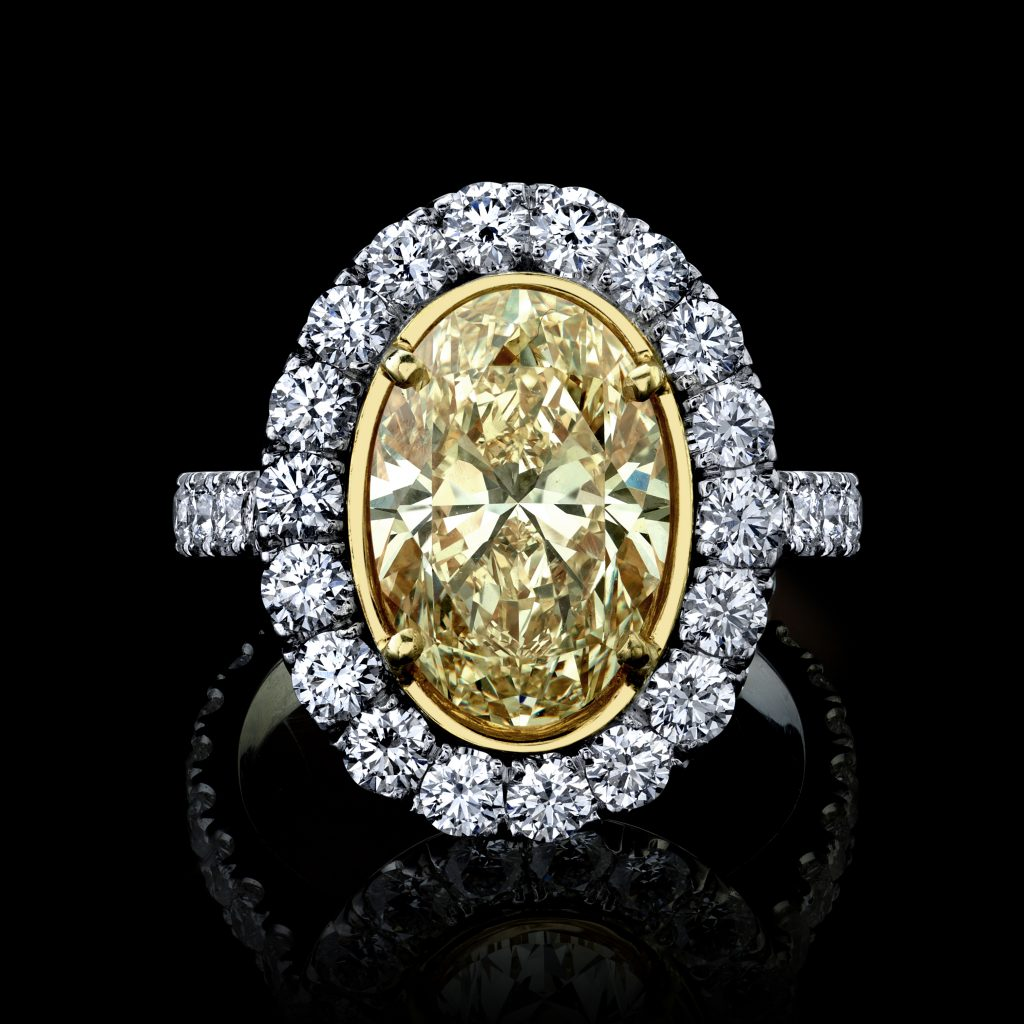 Oval Yellow Diamond Ring 4.47 carats