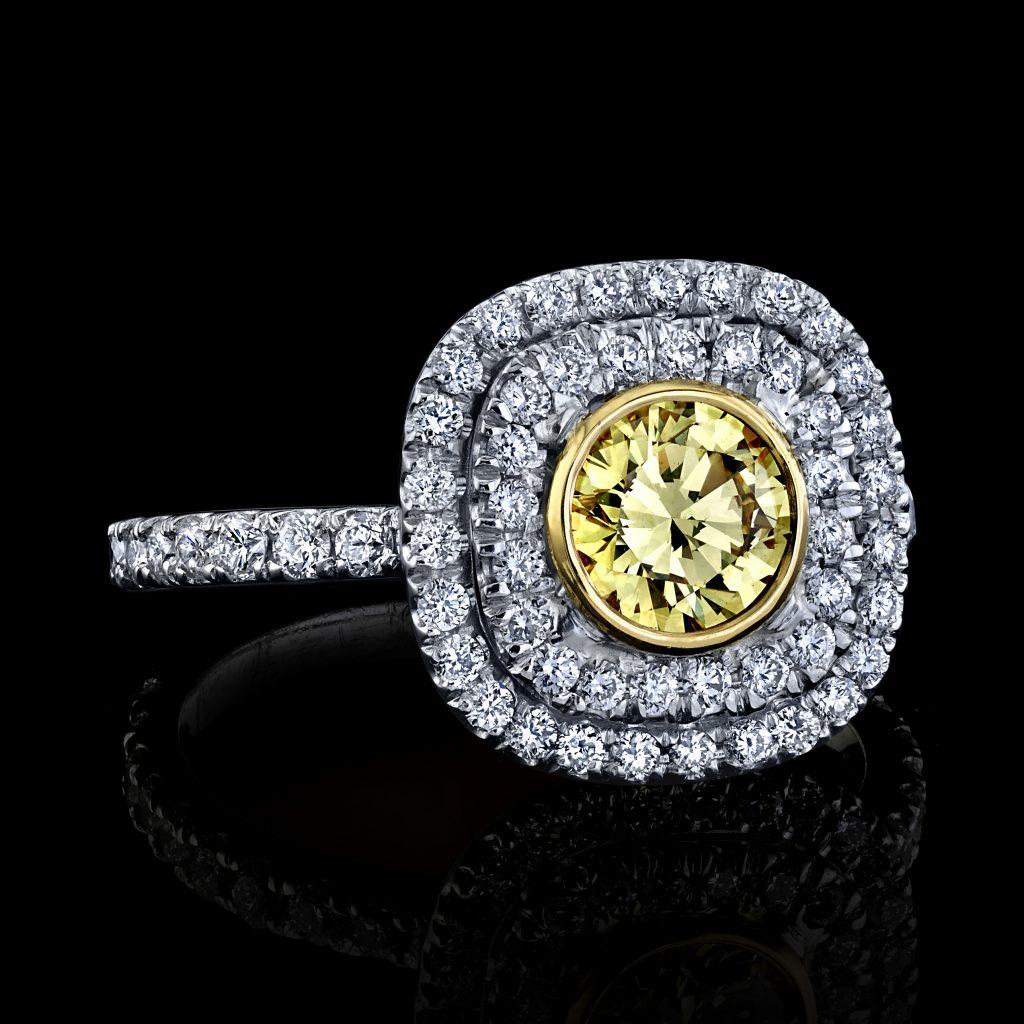 FANCY INTENSE YELLOW DIAMOND RING 1.35 CARAT