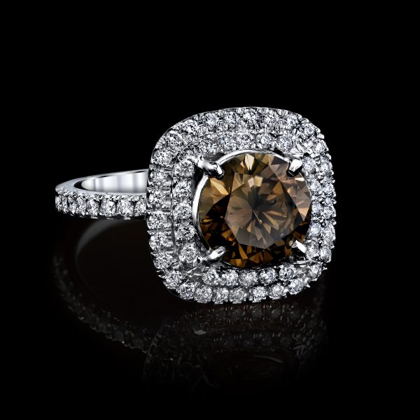 Fancy Color Diamond Ring with GIA cert. 2.44 Carats Total Weight Platinum.