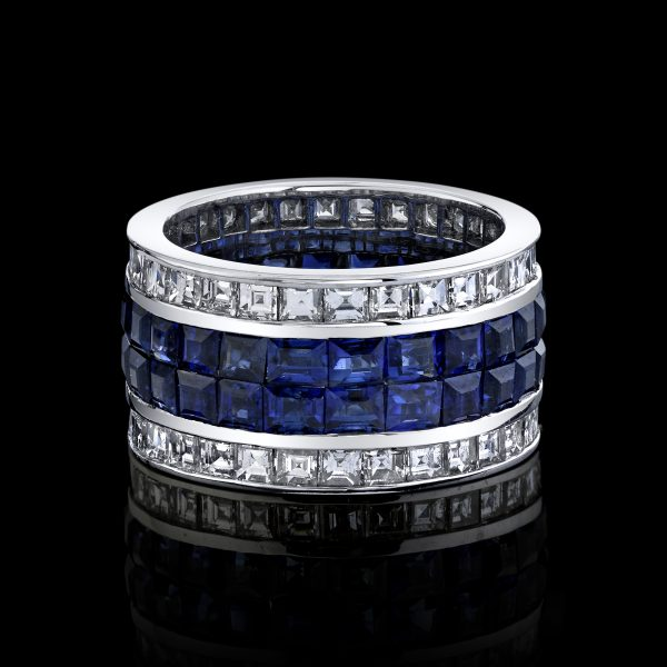 Diamond and Blue Sapphire Invisible Set Ring