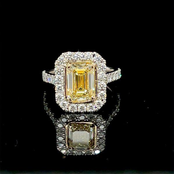 Yellow Diamond Emerald Cut Ring 2.70 carats Plat/18KY GIA Certified