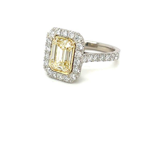 Yellow Diamond Emerald Cut Ring 2.70 carats