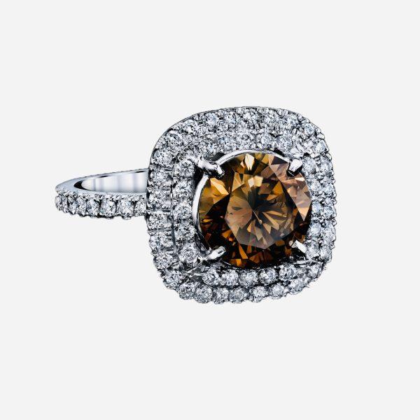 Fancy Dark Brown Diamond Ring 2.44 Carat Total Weight Platinum