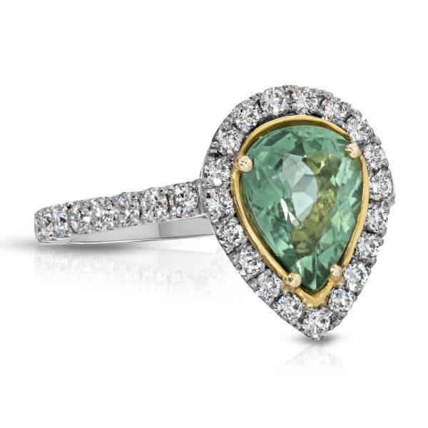 Natural Unheated Paraiba Pear Shape and Diamond ring Platinum/18KYG GIA cert.