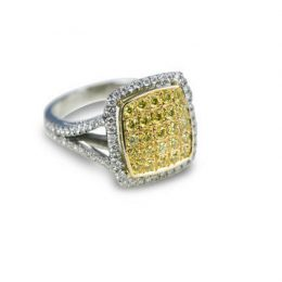 Diamond Pave Ring with Fancy Intense Yellow & White