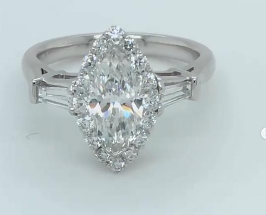 Diamond Marquise Engagement Ring. Set in Platinum